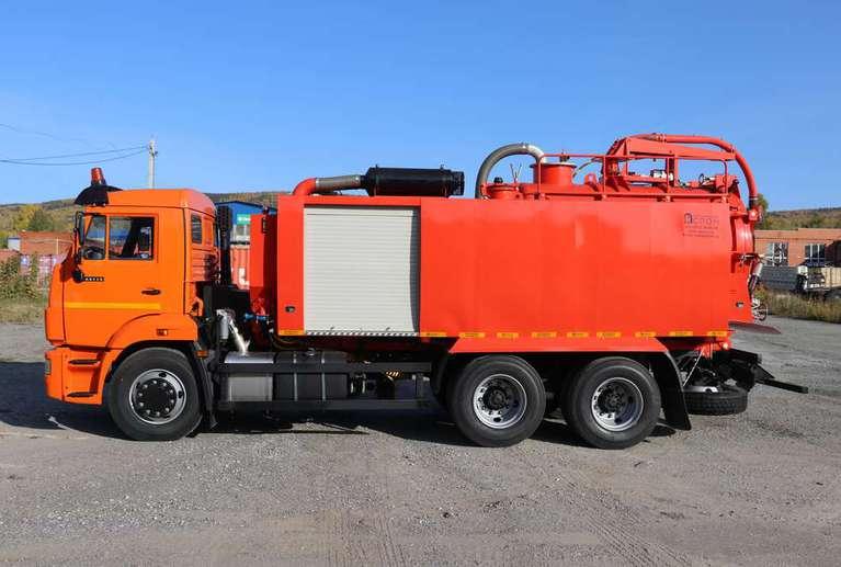 Комбинированная вакуумная машина КМВС-6/5 на шасси КАМАЗ 65115-50 (насос BLW-400)