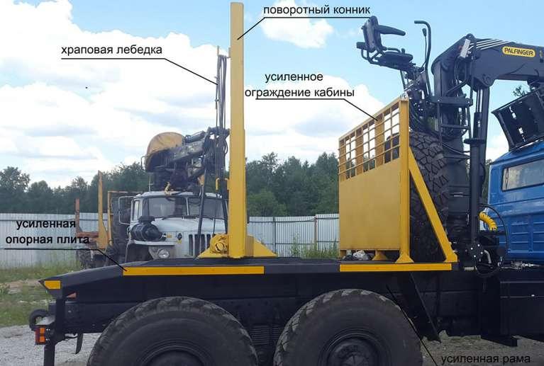 Лесовоз на шасси УРАЛ 55571 с гидроманипулятором VM10L